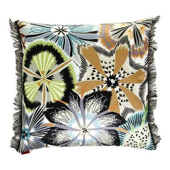 Pillows - Missoni Home Passiflora Cushion | Amara - blue brown and gray floral pillow, floral fringed pillow, modern floral pillow,