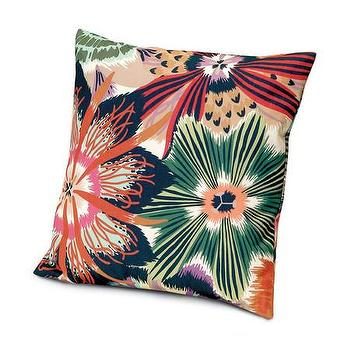 Pillows - Missoni Home Omdurman Cushion | Amara - purple green and orange pillow, missoni flower print pillow, floral patterned missoni pillow,
