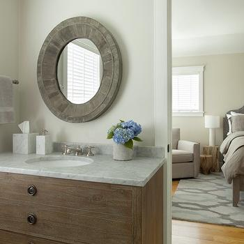 Martha Vineyard Interior Design - bathrooms - Benjamin Moore - Penthouse - natural dresser like washstand, white marble countertop, natural washstand, dresser washstand, dresser like washstand, dresser sink vanity, oval mirror, oval wood mirror, oval vanity mirror,
