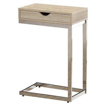 Tables - Monarch Metal Accent Table with Drawer - Natural I Target - c shaped single drawer table, chrome c shaped table, wooden accent table with chrome base, chrome and wood c shaped table,
