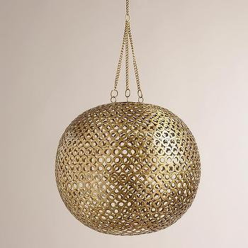 Lighting - Brass Disc Hanging Pendant Lamp | World Market - round brass hanging pendant, indian brass pendant lamp, brass mini disc hanging pendant lamp,