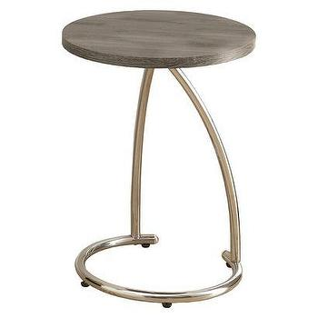 Tables - Monarch Metal Accent Table - Dark Taupe I Target - chrome accent table with wood top, reclaimed round wooden accent table, wood accent table with chrome base,