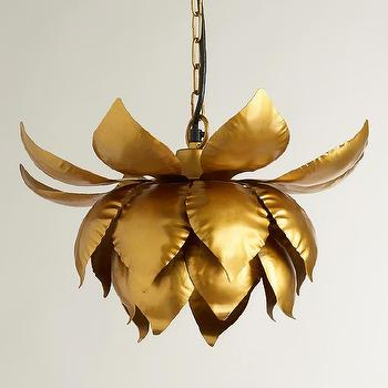 Lighting - Gold Lotus Hanging Pendant Lamp | World Market - gold lotus pendant lamp, lotus blossom pendant lamp, gold lotus blossom hanging lamp,