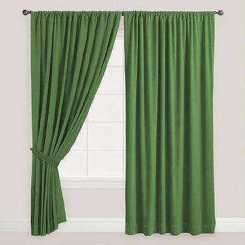 Dark Green Velvet Dual Tab Top Curtain, World Market
