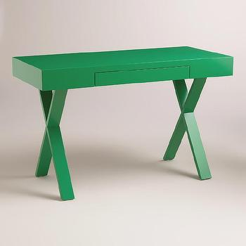 Storage Furniture - Green Josephine Desk | World Market - emerald green desk, green x base desk, modern green desk,