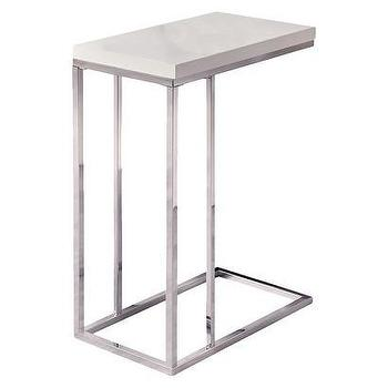 Tables - Moanrch C Shape Metal Accent Table - White I Target - chrome c shaped accent table, chrome accent table with white top, modern chrome and white side table,