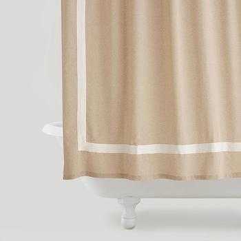 Bath - Amalie Linen Shower Curtain | World Market - linen shower curtain with white border, linen appliqued shower curtain, linen blend shower curtain,