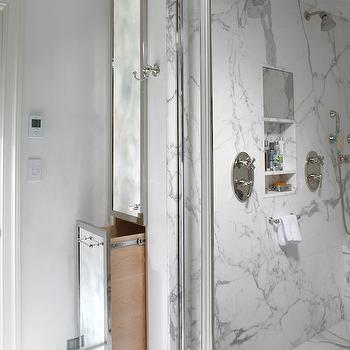 Shared shower ideas transitional bathroom for Marble bathroom bin