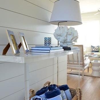 Munger Interiors - entrances/foyers - lucite console table, white coral table lamp, woven basket. white coral lamp, beach cottage foyer, beach cottage entry, foyer table, hall table, entry table, seagrass basket, paneled foyer, tongue and groove foyer, paneled entry,