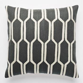 Honeycomb Crewel Pillow Cover, Slate, West Elm