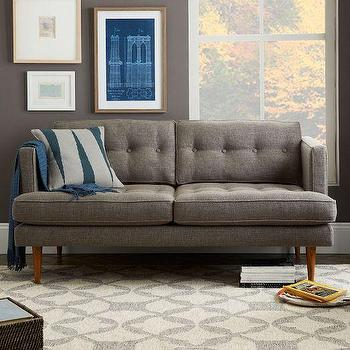 Seating - Peggy Loveseat | West Elm - retro gray loveseat, gray tufted loveseat, gray tufted loveseat,