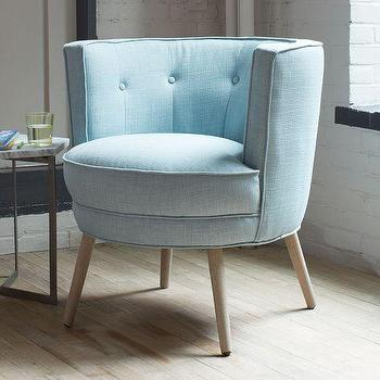 Seating - Buttoned Up Chair | West Elm - barrel back accent chair, cornflower blue tufted chair, blue barrel back chair, blue mid century style chair,