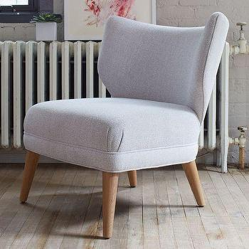 Seating - Retro Wing Chair | West Elm - retro gray accent chair, retro gray wingchair, mid century gray wing chair,