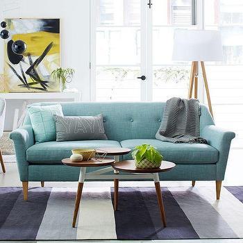 Seating - Finn Sofa | West Elm - retro turquoise sofa, mid century turquoise sofa, turquoise tufted sofa,