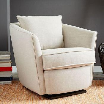 Seating - Duffield Glider Chair | West Elm - modern glider arm chair, bucket style glider chair, linen glider arm chair,