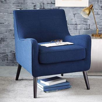 Seating - Book Nook Armchair Solids | West Elm - navy blue armchair, navy mid century chair, navy chair with tapered legs,