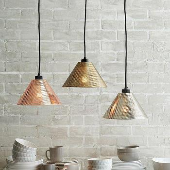 Lighting - Perforated Metal Industrial Pendant Shades | West Elm - perforated copper pendant, perforated brass pendant, perforated nickel pendant,