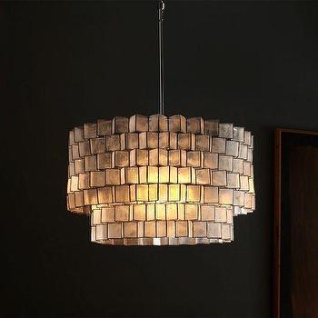 Lighting - Capiz Zigzag Chandelier | West Elm - capiz shell chandelier, capiz drum pendant, modern capiz chandelier,