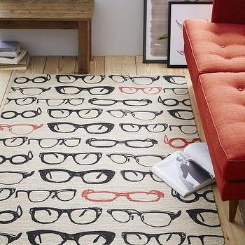Rugs - Specs Jute Mat | West Elm - glasses floor rug, reading glasses rug, glasses print rug,