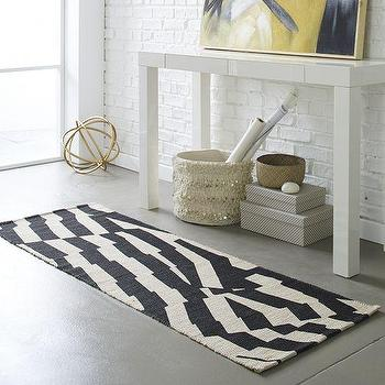 Rugs - Modmix Stripe Jute Rug | West Elm - black and ivory rug runner, black geometric rug runner, black and ivory abstract runner,