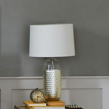 Lighting - Metallic Honeycomb Table Lamp | West Elm - silver dipped table lamp, silver faceted table lamp, silver honeycomb table lamp, modern silver and glass table lamp,