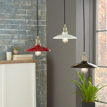 Lighting - Enameled Metal Industrial Pendants | West Elm - red enamel pendant light, black enamel pendant light, white enamel pendant light, metal industrial pendant light, enamel industrial pendant light,
