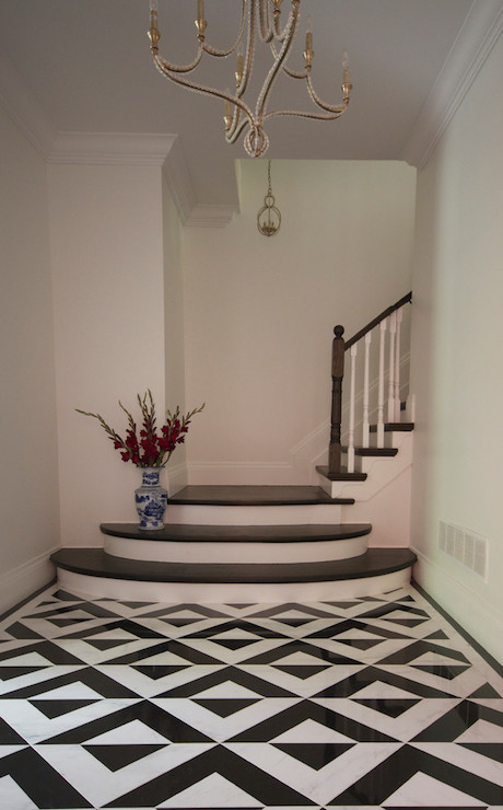 Black and white floor tiles contemporary entrance for Black and white tile floors