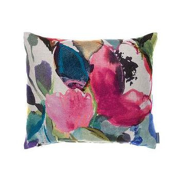 Pillows - Bluebellgray Chloe Cushion | Amara - watercolor floral pillow, purple blue and green floral pillow, watercolor print flower pillow,
