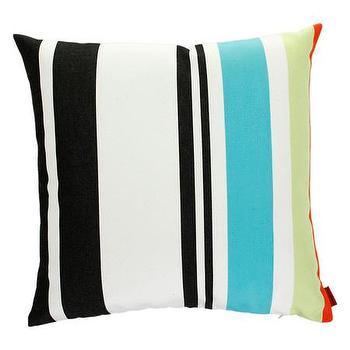 Pillows - Missoni Home Olvan Cushion | Amara - black and turquoise striped pillow, missoni striped pillow, black aqua and green striped pillow,
