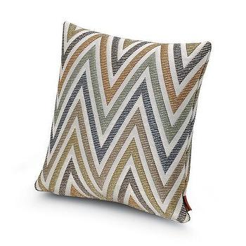 Pillows - Missoni Home Nesterov Cushion | Amara - blue and gold chevron pillow, blue and gold zig zag pillow, blue and metallic gold chevron pillow,