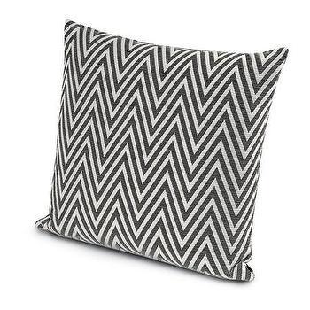 Pillows - Missoni Home Nossen Cushion | Amara - gray and white zig zag pillow, gray chevron pillow, gray and white chevron pillow,