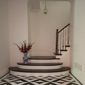 Meredith Heron Design - entrances/foyers - black and white geometric tiled floor, black and white foyer, geometric tiled floor, beaded chandelier, black and white tiles, black and white tiled floor, black and white floor tiles, geometric floors, foyer chandeliers,