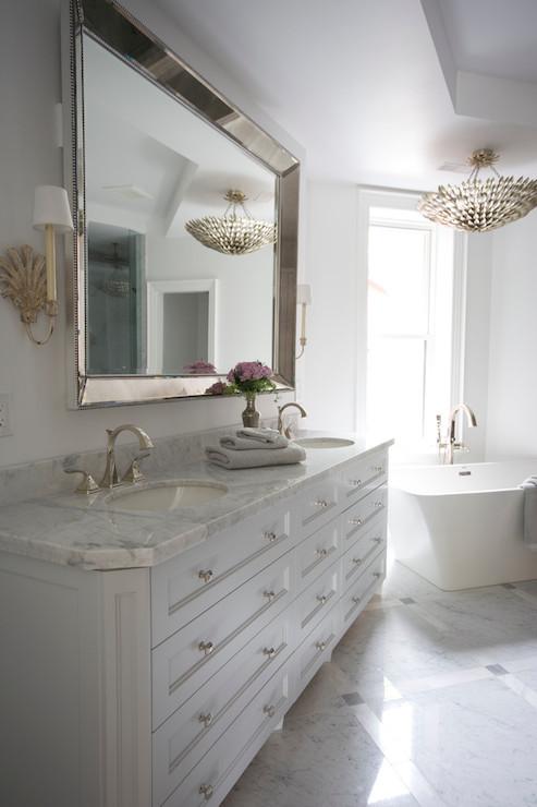 Venetian Beaded Mirror Transitional Bathroom