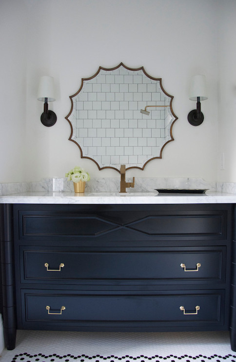Black bamboo vanity contemporary bathroom meredith for Navy blue and gold bathroom accessories