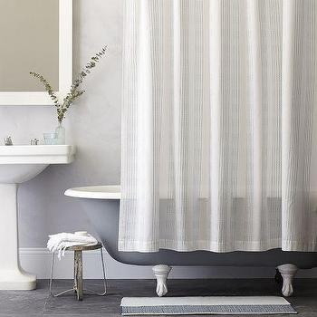 Bath - Dotted Stripe Shower Curtain - Light Pool | West Elm - blue dotted stripe shower curtain, stripes and dots shower curtain, blue speckled stripe shower curtain,
