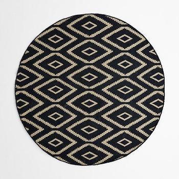 Rugs - Kite Wool Kilim Rug - Round | West Elm - round black kite kilim rug, round black kilim rug, round black geometric rug,