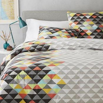 Bedding - Op Art Duvet Cover + Shams - Slate | West Elm - cubism inspired bedding, cubism style bedding, technicolor geometric bedding, multi colored geometric bedding,