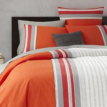 Bedding - Thick 'n Thin Stripe Duvet Cover + Shams - Peach Rose | West Elm - orange and gray striped bedding, orange and gray striped duvet, modern orange and gray duvet,