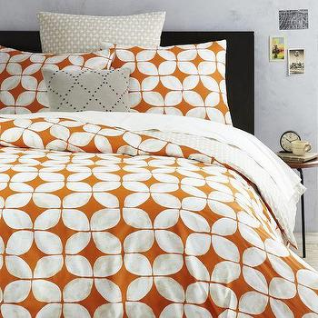 Bedding - Leaf Motif Duvet Cover + Shams - Mandarin | West Elm - orange and white duvet cover, orange and white geometric bedding, orange retro print duvet, orange retro pattern duvet,