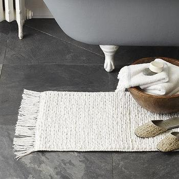Bath - Mixed Weave Bath Mat | West Elm - white cotton weave bath mat, fringed cotton bath mat, white fringed bath rug,