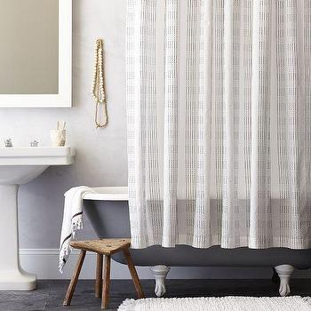 Bath - Dotted Stripe Shower Curtain - Slate | West Elm - dotted striped shower curtain, striped dot shower curtain, gray dotted stripe shower curtain,