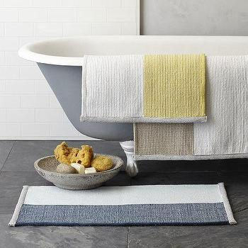 Bath - Colorblock Stripe Bath Mat | West Elm - colorblock bath mat, yellow and white bath mat, colorblock stripe bath mat, colorblock stripe bath rug, beige and white bath rug,