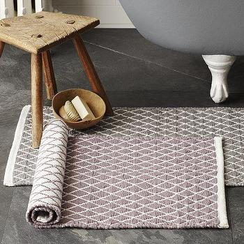 Bath - Diamond Flat Weave Bath Mat | West Elm - gray geometric bath mat, gray diamond print bath mat, reversible gray bath rug,