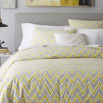 Bedding - Pop Zigzag Duvet Cover + Shams - Sun Yellow | West Elm - gray and yellow zigzag bedding, gray and yellow chevron bedding, modern gray and yellow duvet,