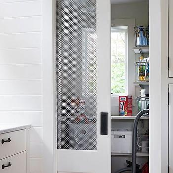 BHG - closets - chicken wire pocket door, white chicken wire pocket door, white pocket door, stacked shelves, utility closet, chicken wire doors, closet doors, chicken wire closet door, closet pocket door, pocket door closet, pocket door utility closet, utility closet pocket door, closet shelving,