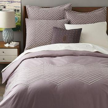 Bedding - Cord Embroidered Duvet Cover + Shams | West Elm - mauve duvet cover, embroidered purple duvet, purple zigzag embroidered bedding,