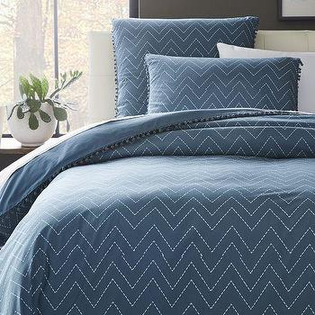 Bedding - Jay Street Ainslie Duvet Cover + Shams | West Elm - denim blue zigzag bedding, blue zigzag embroidered bedding, blue and white zigzag duvet,