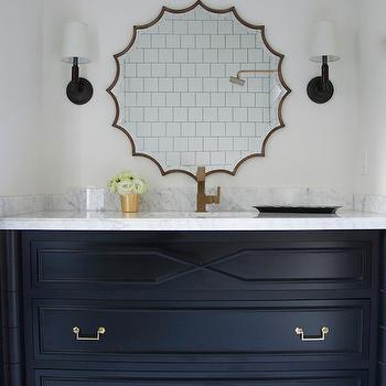 Meredith Heron Design - bathrooms: black and white bathroom, black sink washstand, white marble countertop, gold faucet, brass scalloped mirror, longacre sconce, black and white hex tiled floor, scalloped mirror, thin framed mirror, hex tiled floor, bathroom hex tiled floor, black washstand with gold faucet, bathroom hex tiled floor, black sink vanity, black washstand, gold vanity faucet, scalloped mirror, hex tiles, black hex tiles, black and white hex tiles, bamboo sink vanity, black bamboo sink vanity, bamboo washstand, black bamboo washstand, black dresser washstand, dresser like washstand, dresser like vanity,