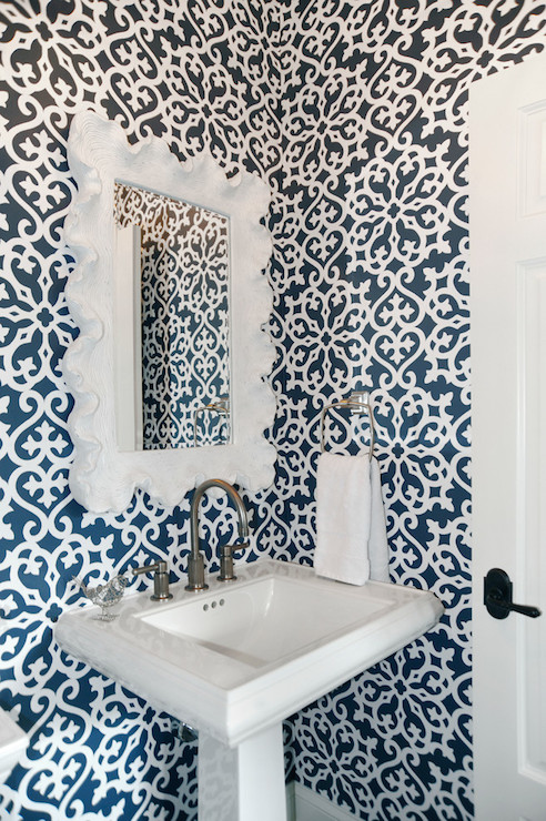 White And Navy Bathrooms Transitional Bathroom Dave