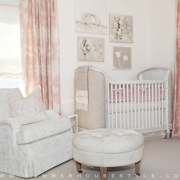 Summer House Style - nurseries - restoration hardware baby and child crib, white damask glider, white round tufted ottoman, mary mcdonald fabric, white vintage patterned glider, white and pink pillow, unframed canvas artwork, nursery artwork, floral artwork, french cribs, upholstered cribs, linen cribs, pink curtains, white and pink curtains, nursery curtains, nursery drapes nursery drapery, white and pink print curtains, mary mcdonald curtains, patterned glider, white nursery glider, french nursery glider, art over crib, art above crib, over the crib art, nursery art, nursery ottomans, round ottomans, round tufted ottoman, chanel boy, white chanel boy, diaper bags, chanel diaper bags, chanel boy diaper bag, white chanel boy diaper bag,
